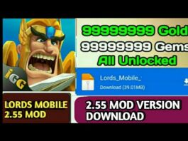 LORDS MOBILE TOWER DEFENSE 2.55 VERSION MOD APK DOWNLOAD II UNLIMITED GEMS II UNLOCKED ALL THING II